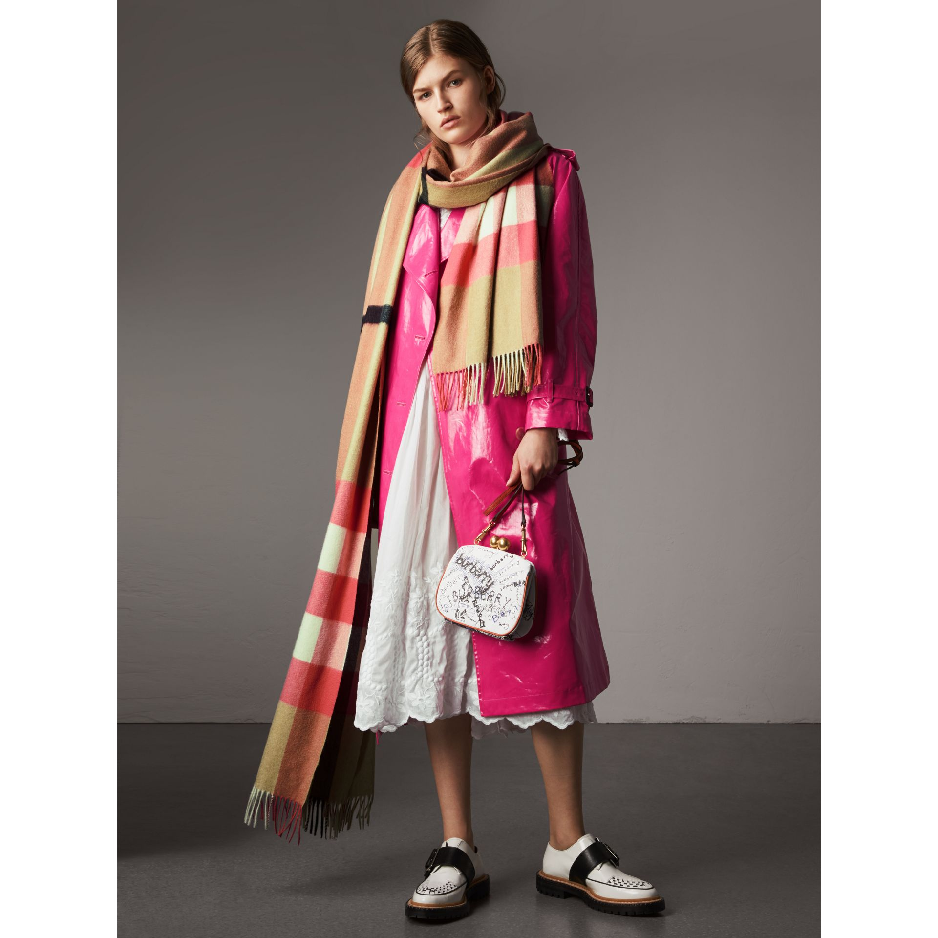 Laminated Cotton Trench Coat in Neon Pink - Women | Burberry United States - gallery image 3