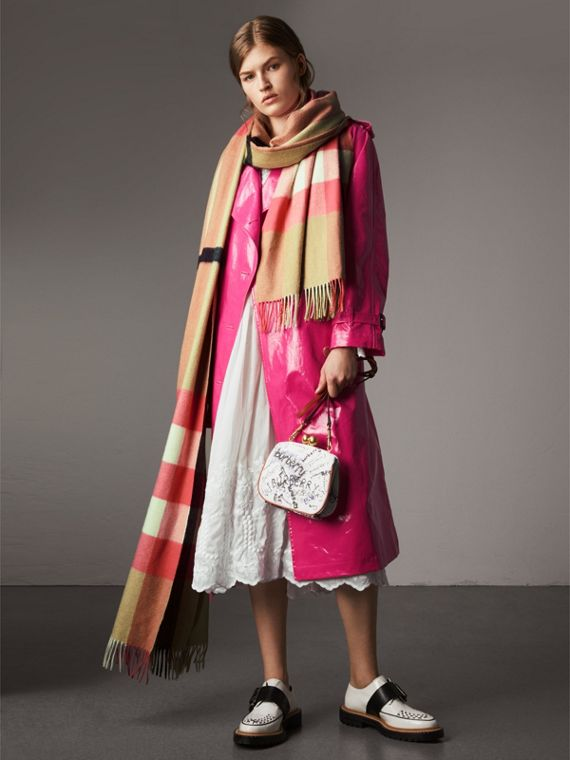 Laminated Cotton Trench Coat in Neon Pink - Women | Burberry United States - cell image 3