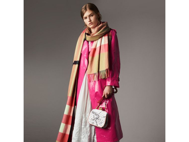 Laminated Cotton Trench Coat in Neon Pink - Women | Burberry - cell image 4