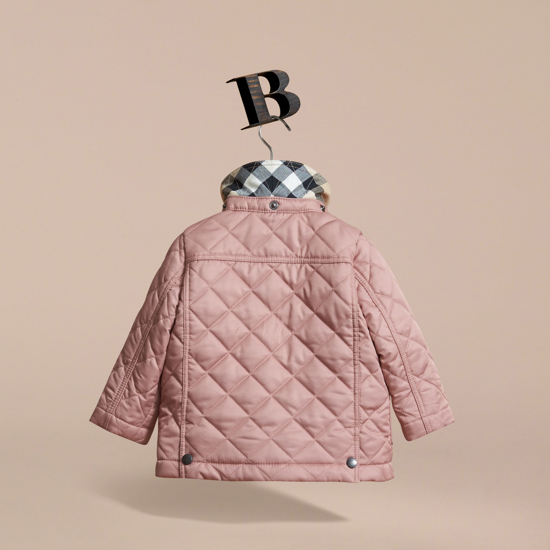 Detachable Hood Quilted Jacket in Pale Rose | Burberry - gallery image 4