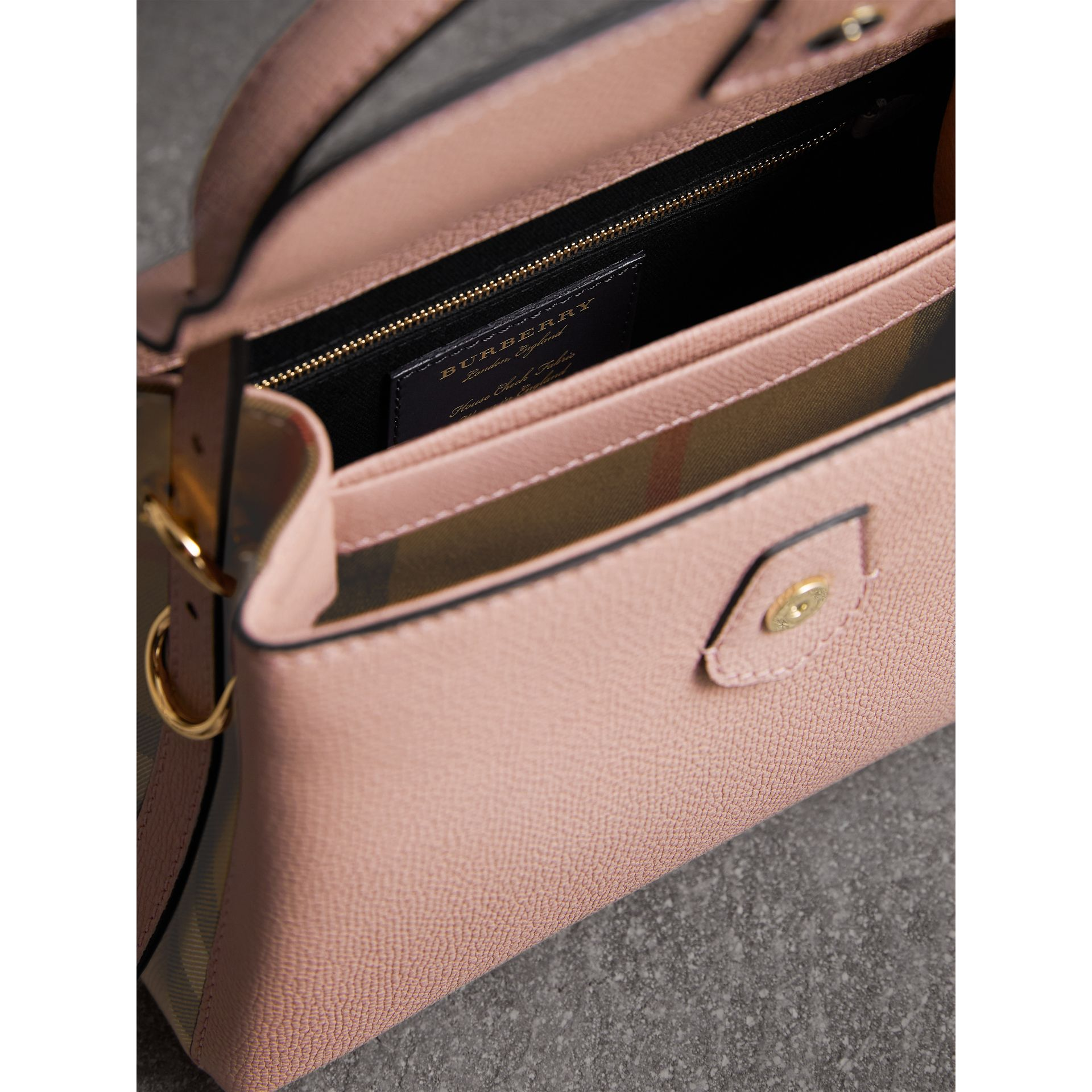 Small Grainy Leather and House Check Tote Bag in Pale Orchid - Women | Burberry - gallery image 5