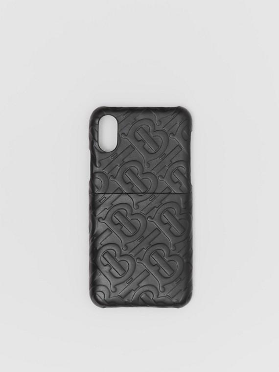 Coque pour iPhoneX/XS en cuir Monogram (Noir)