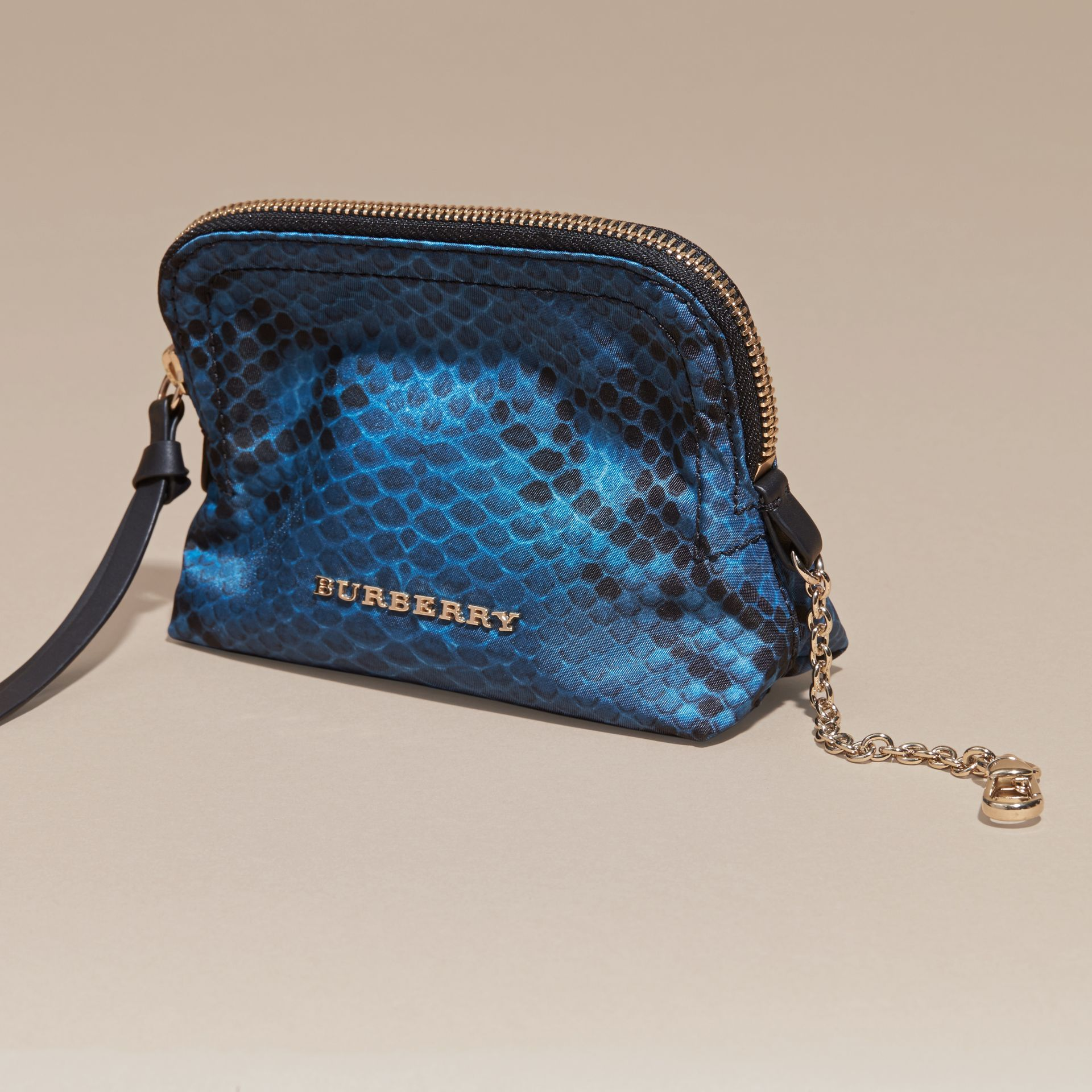 Small Zip-top Python-print Technical Nylon Pouch Mineral Blue - gallery image 3