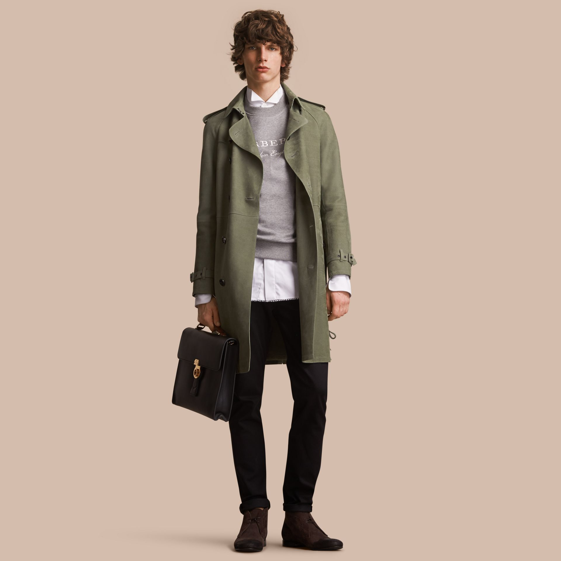 Lightweight Grainy Nubuck Trench Coat in Khaki Green - Men | Burberry - gallery image 1