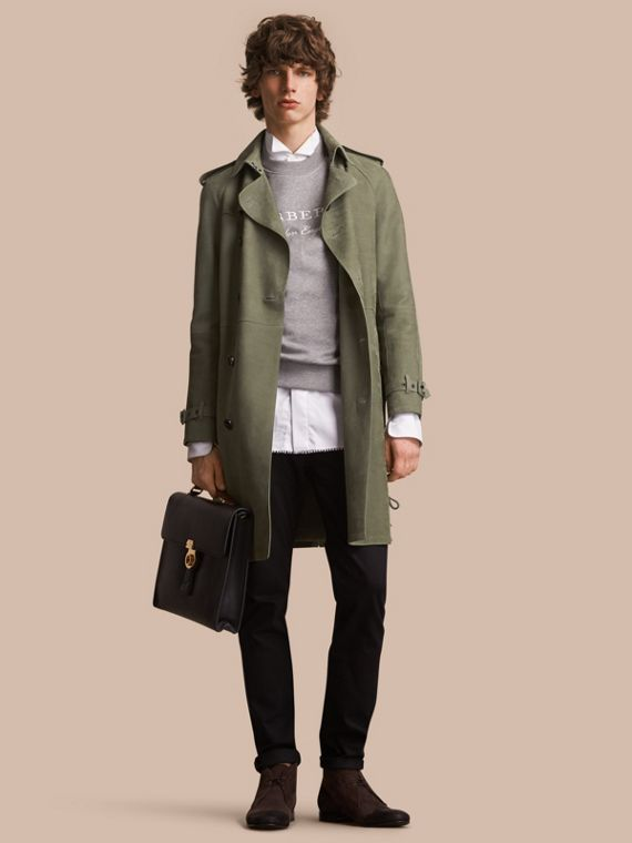 Lightweight Grainy Nubuck Trench Coat in Khaki Green