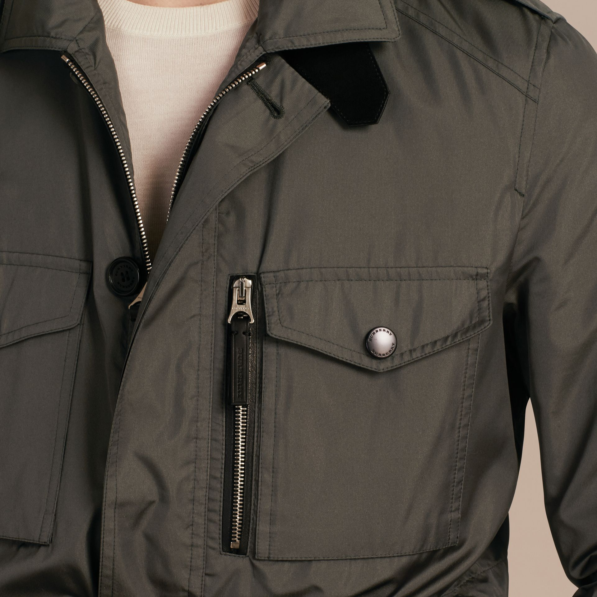Green black Technical Silk Blend Field Jacket - gallery image 5