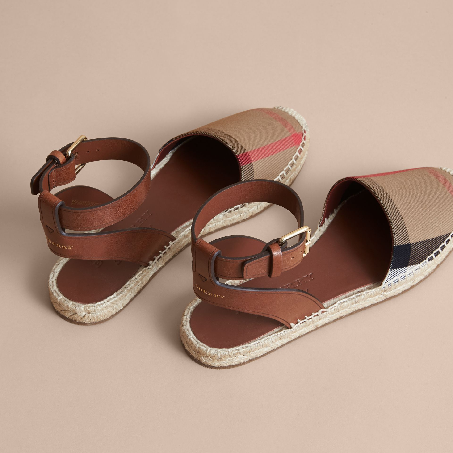 Leather and House Check Espadrille Sandals in Dark Tan - Women | Burberry Hong Kong - gallery image 4