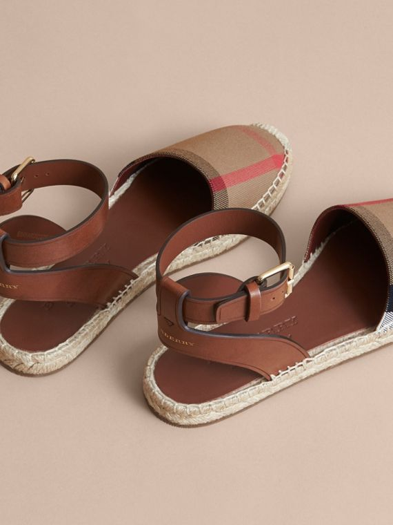 Leather and House Check Espadrille Sandals in Dark Tan - Women | Burberry Hong Kong - cell image 3