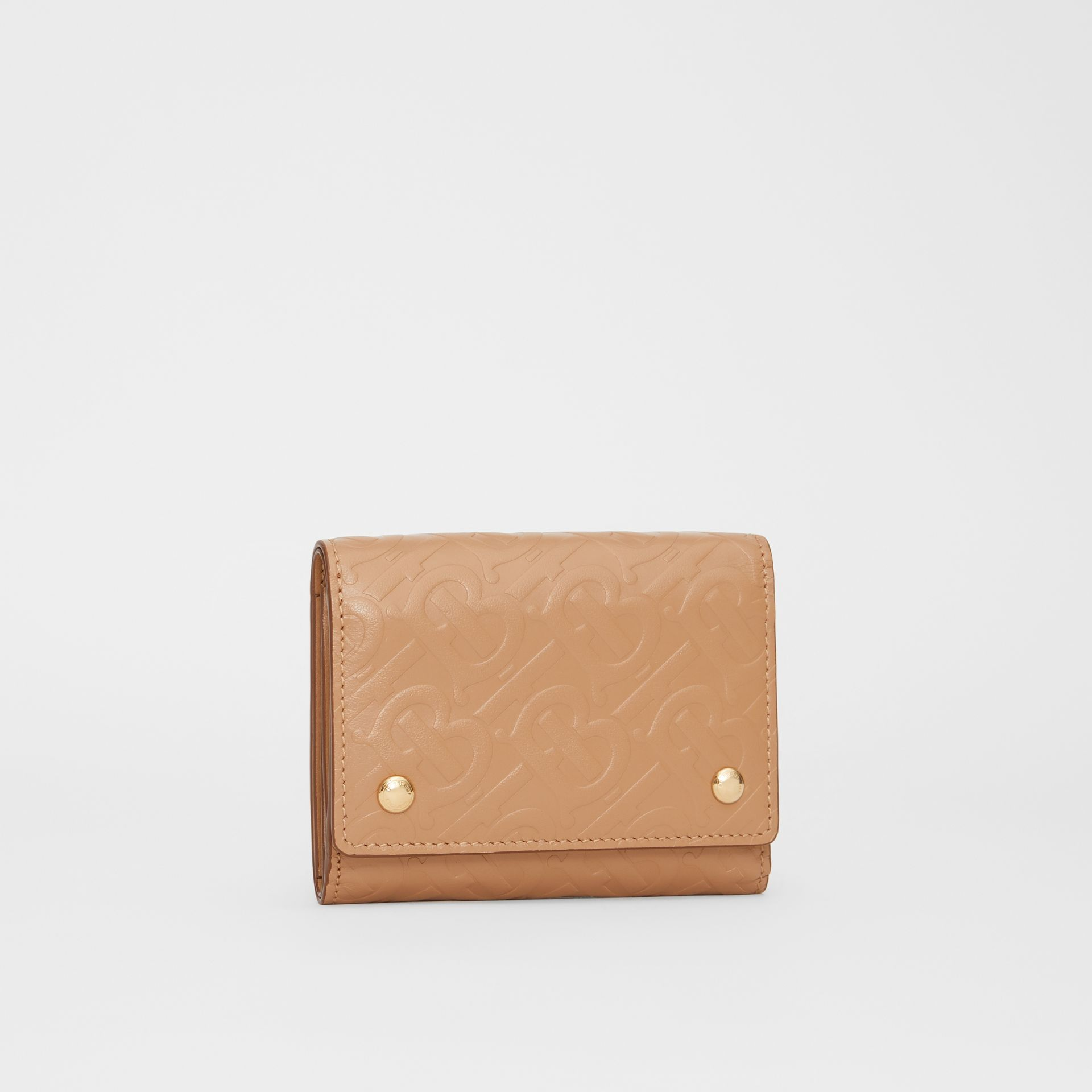 Small Monogram Leather Folding Wallet in Light Camel | Burberry - gallery image 3