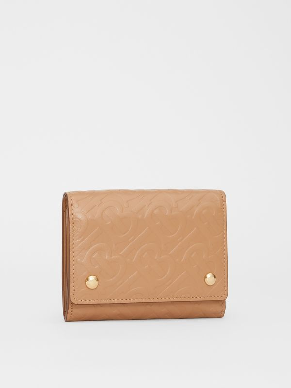 Small Monogram Leather Folding Wallet in Light Camel - Women | Burberry - cell image 3