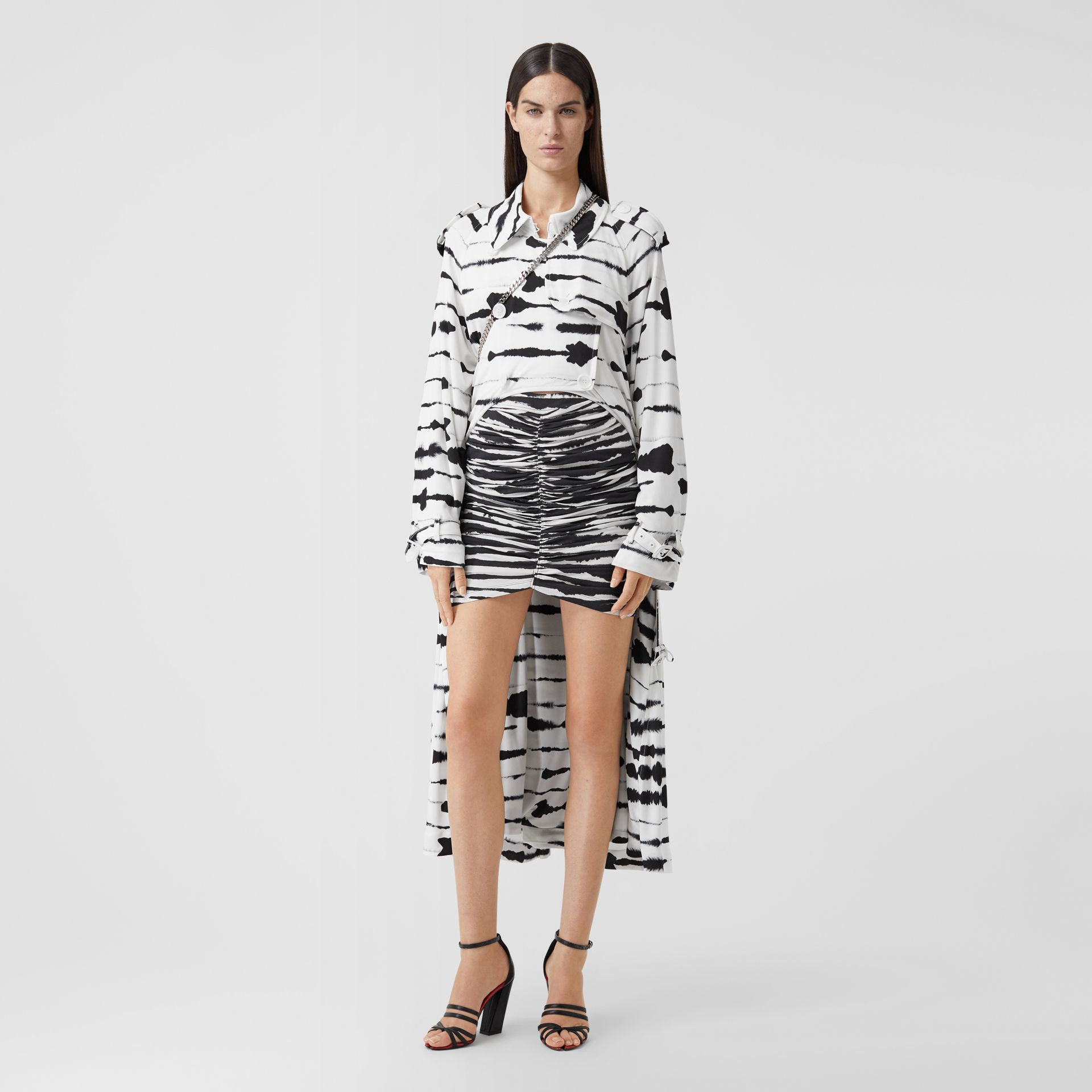 Watercolour Print Jersey Step-through Trench Coat in Monochrome - Women | Burberry - gallery image 0