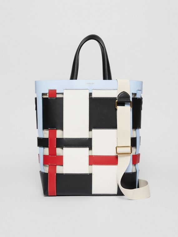 Medium Colour Block Leather Foster Tote in Blue