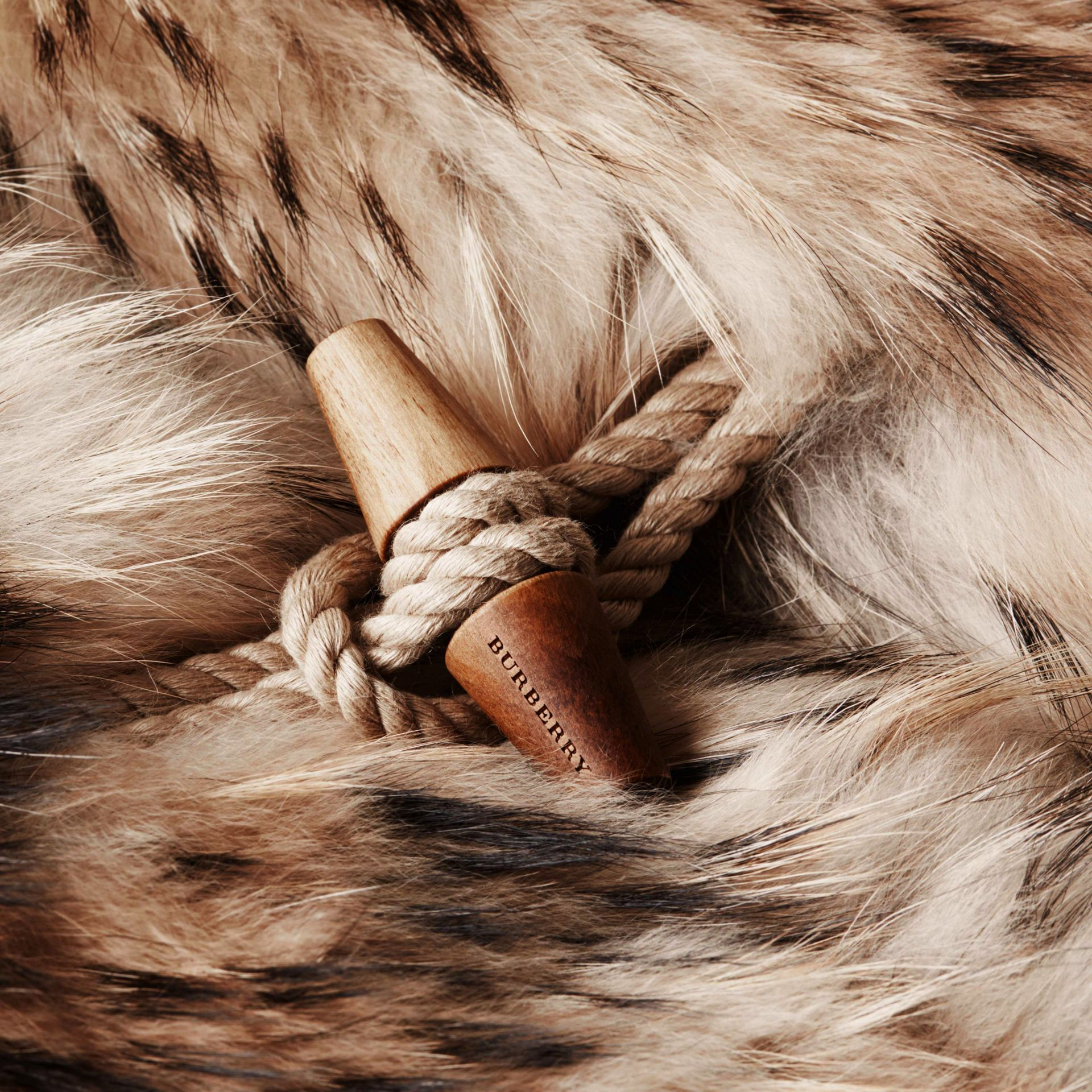 Camel Oversize Raccoon Duffle Coat - gallery image 2