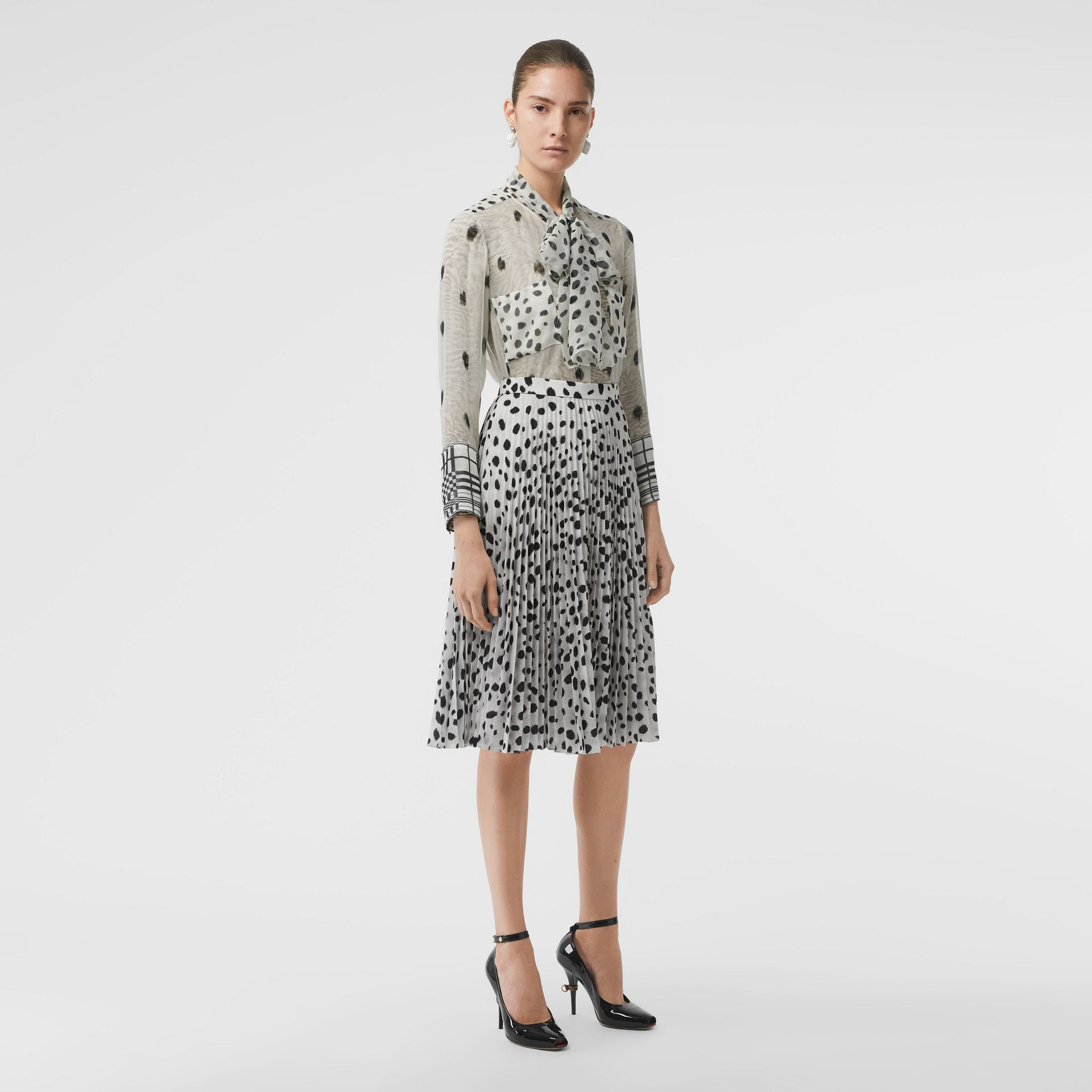 Dalmatian Print Crepe Pleated Skirt in Black/white - Women | Burberry Australia - gallery image 0