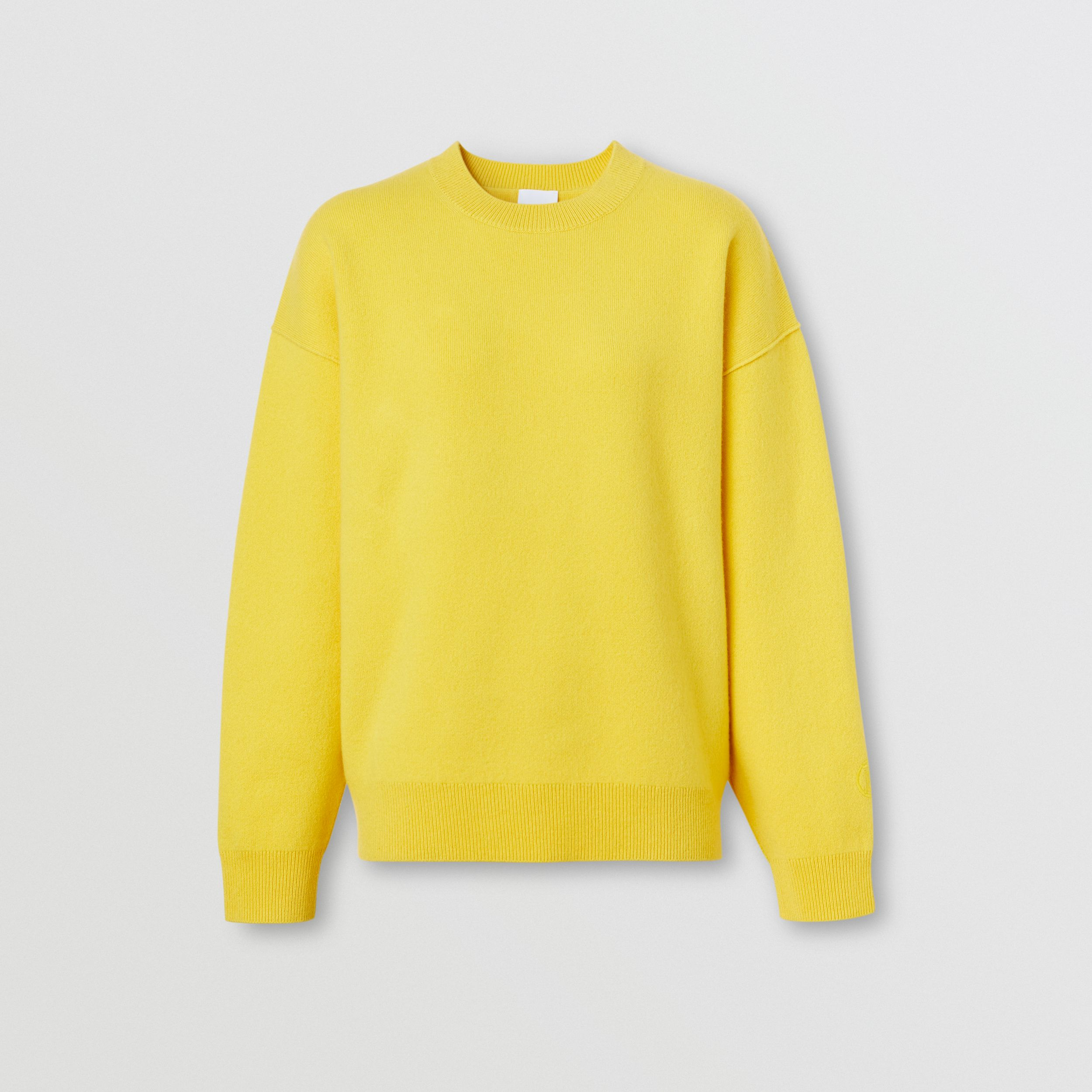 Monogram Motif Cashmere Blend Sweater in Bright Yellow - Women | Burberry - 4