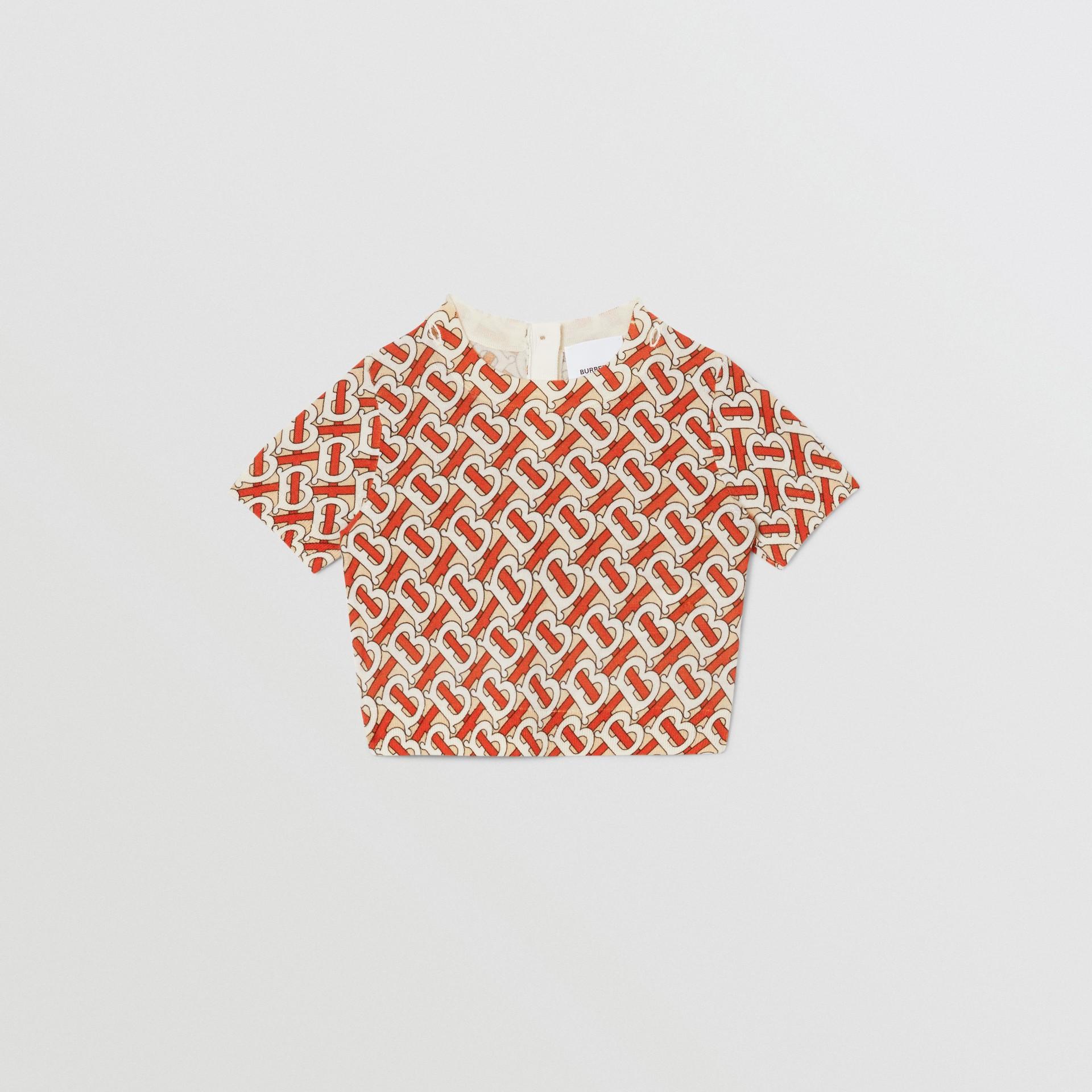 Monogram Print Merino Wool Two-piece Set in Vermilion - Children | Burberry - gallery image 2
