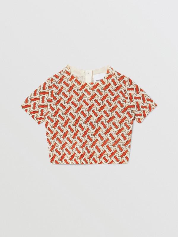 Monogram Print Merino Wool Two-piece Set in Vermilion - Children | Burberry - cell image 2