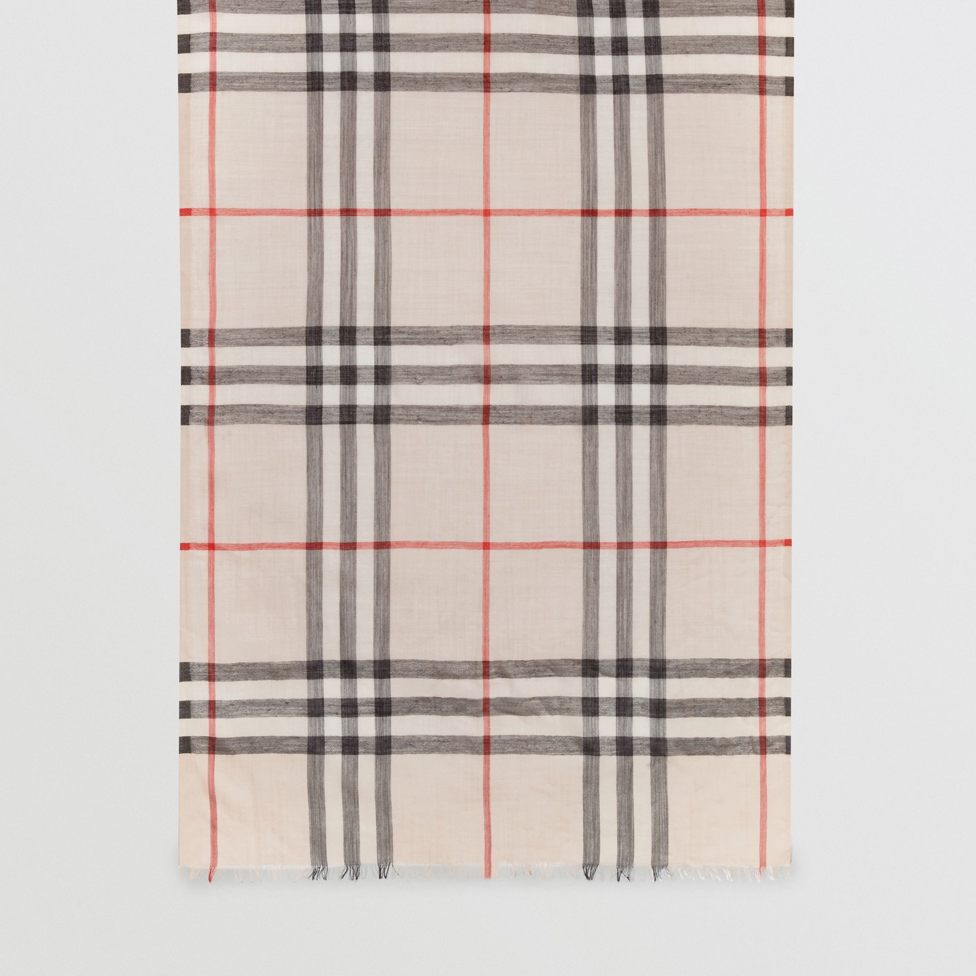 Lightweight Check Wool and Silk Scarf in Stone | Burberry - gallery image 6