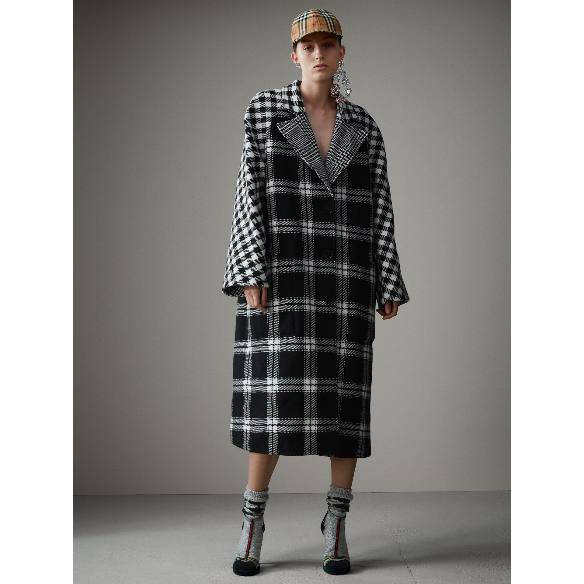 Reversible Multi-check Wool Cashmere Coat in Black/white - Women | Burberry - gallery image 8