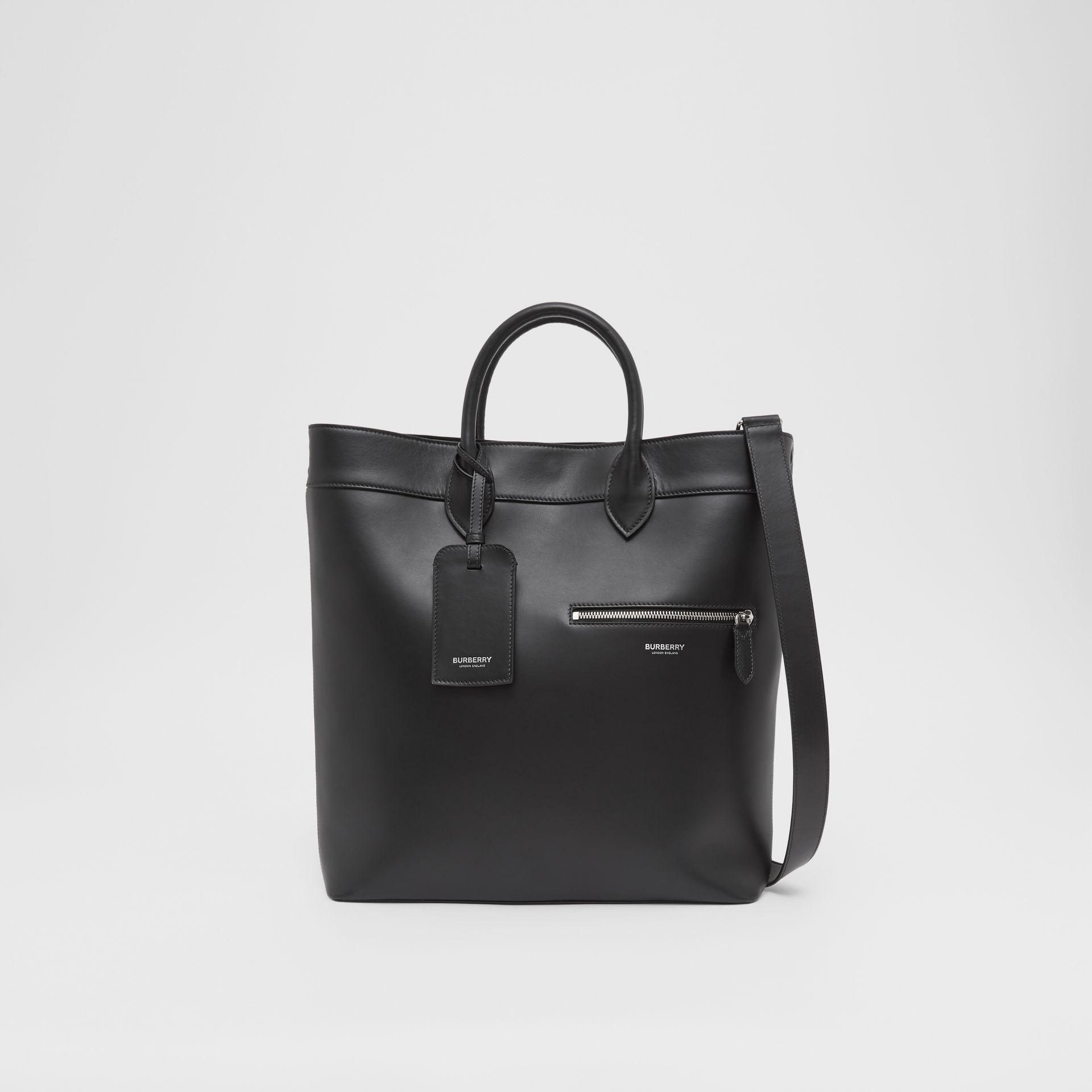 Leather Tote in Black - Men | Burberry - gallery image 0