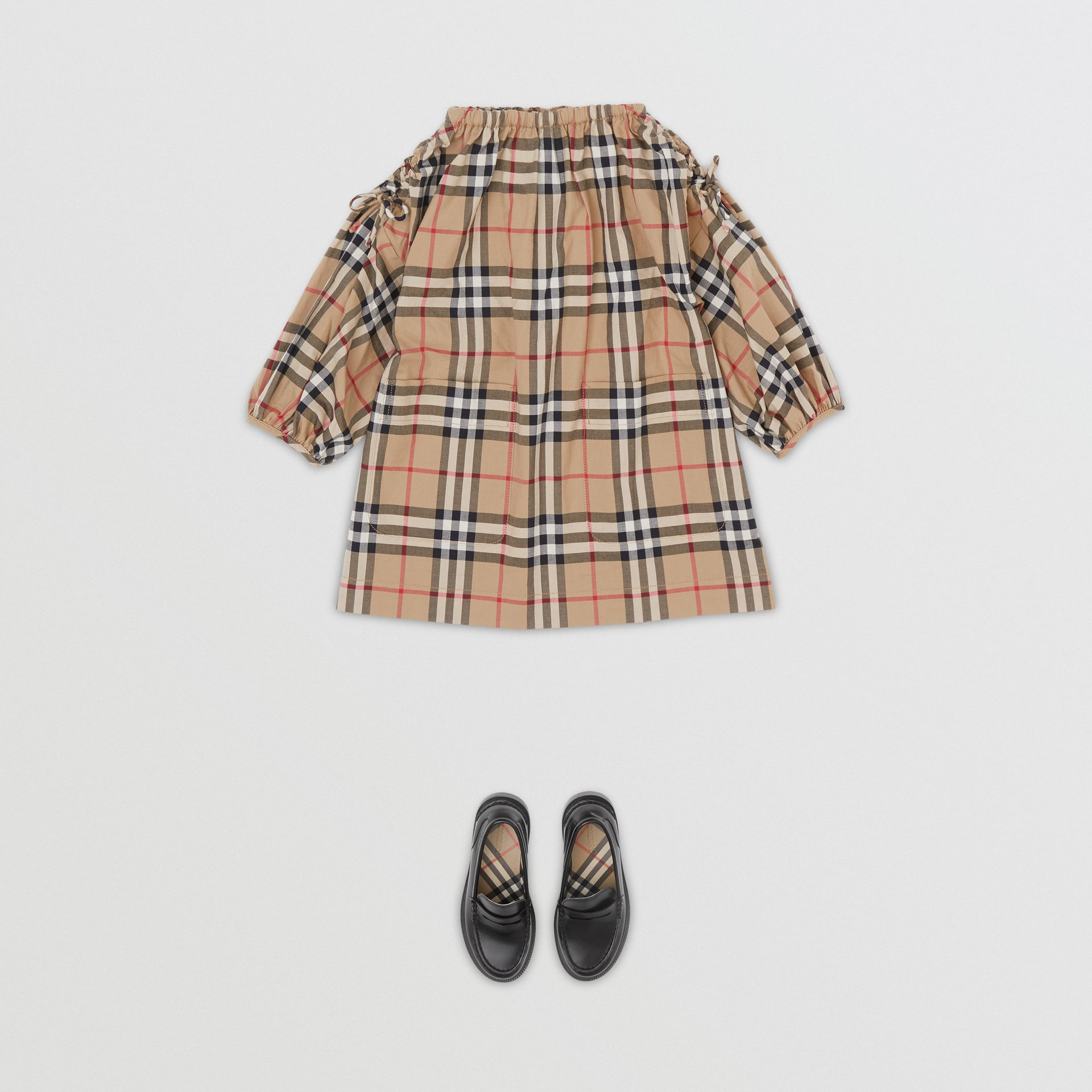 Gathered Sleeve Vintage Check Cotton Dress in Archive Beige - Children | Burberry Canada - gallery image 2