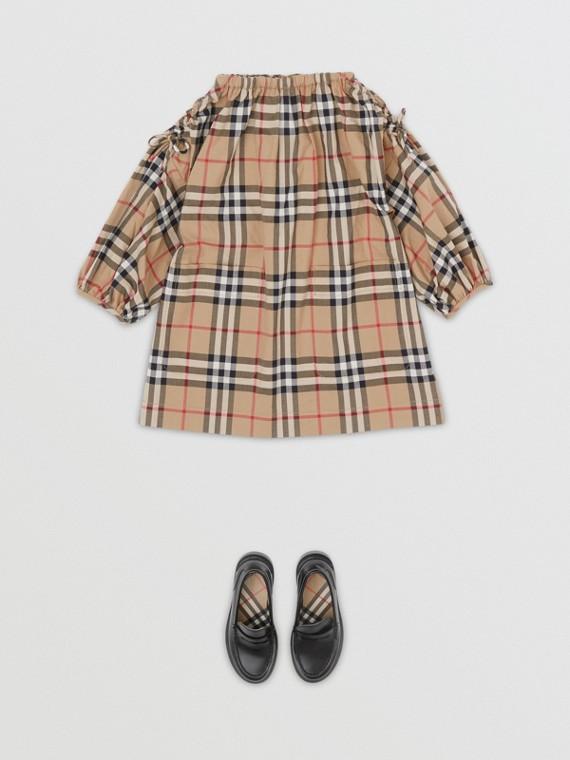Baumwollkleid im Vintage Check-Design mit gerafften Ärmeln (Vintage-beige)