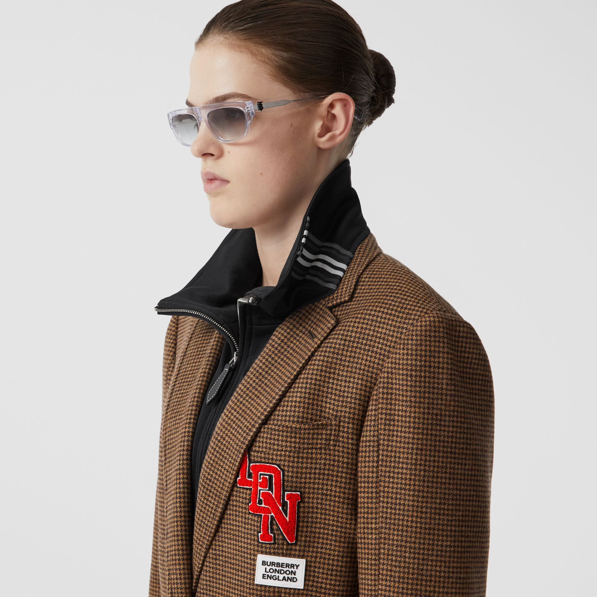 Track Top Detail Houndstooth Check Tailored Coat in Brown - Women | Burberry - gallery image 1