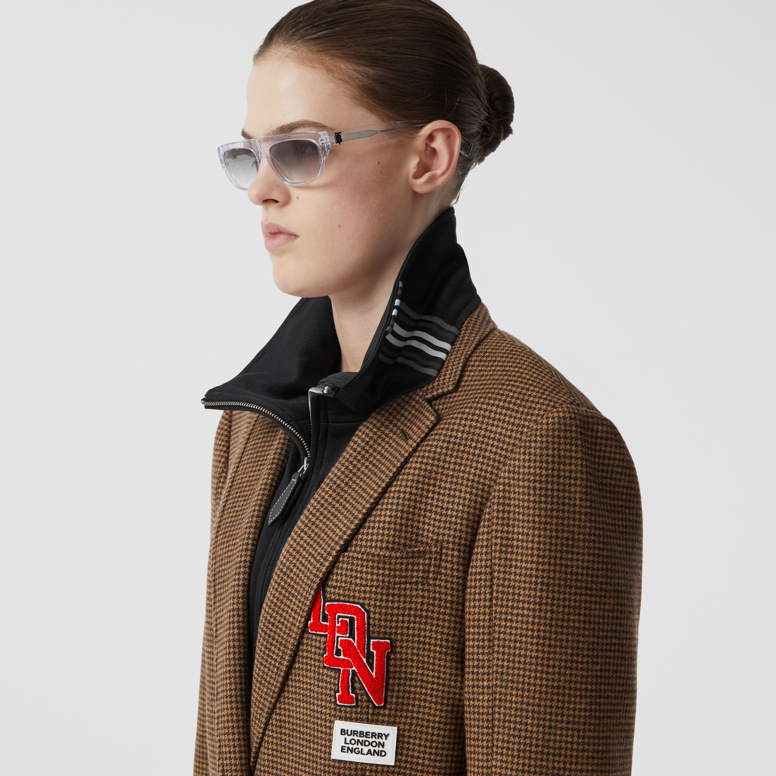 Track Top Detail Houndstooth Check Tailored Coat in Brown - Women | Burberry - 2