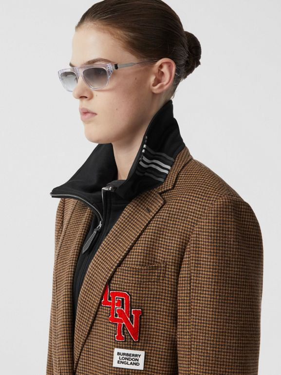Track Top Detail Houndstooth Check Tailored Coat in Brown - Women | Burberry United Kingdom - cell image 1