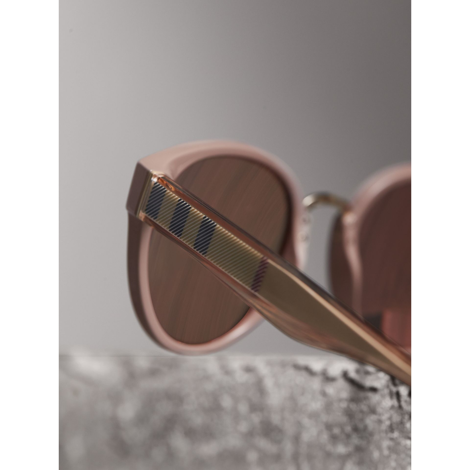 Check Detail Mirrored Cat-eye Frame Sunglasses in Nude - Women | Burberry - gallery image 2