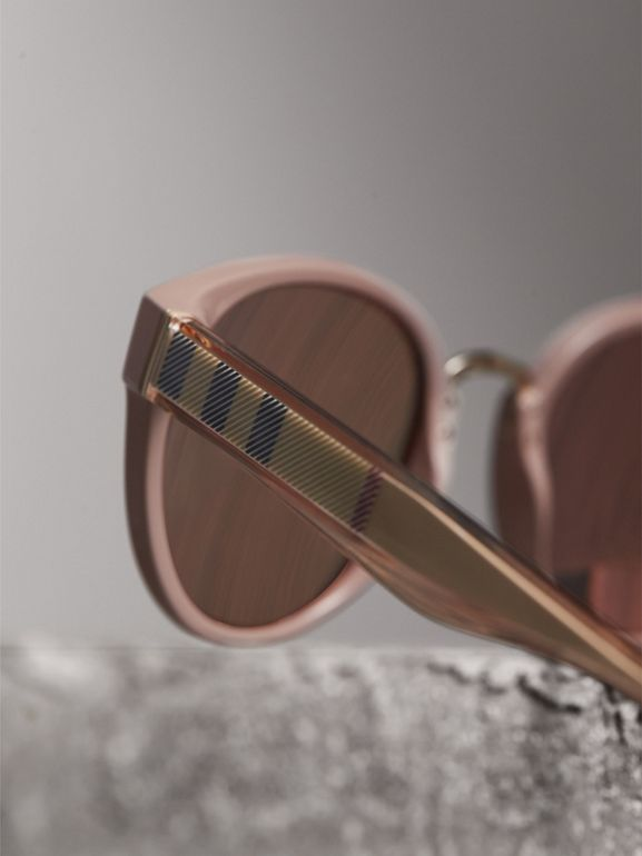 Check Detail Mirrored Cat-eye Frame Sunglasses in Nude - Women | Burberry United Kingdom - cell image 1