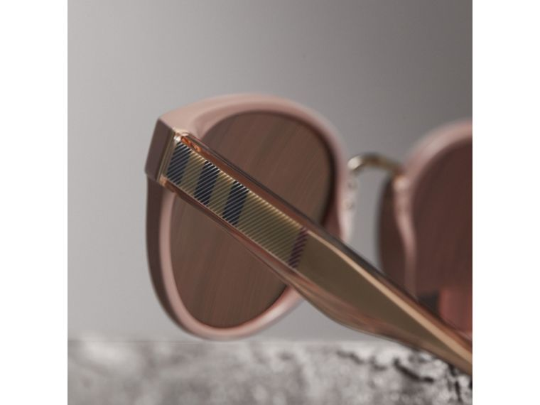 Check Detail Mirrored Cat-eye Frame Sunglasses in Nude - Women | Burberry Australia - cell image 1