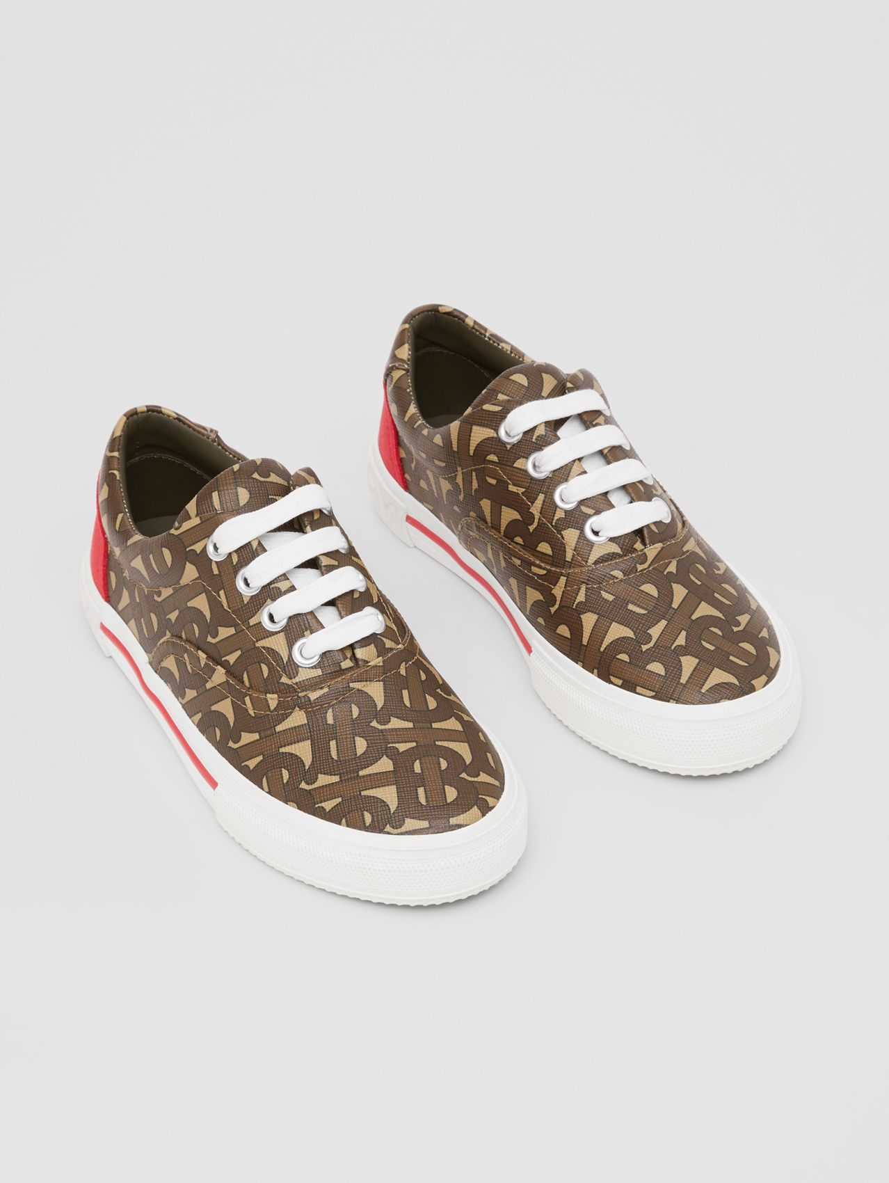 Monogram Print E-canvas Sneakers in Bridle Brown