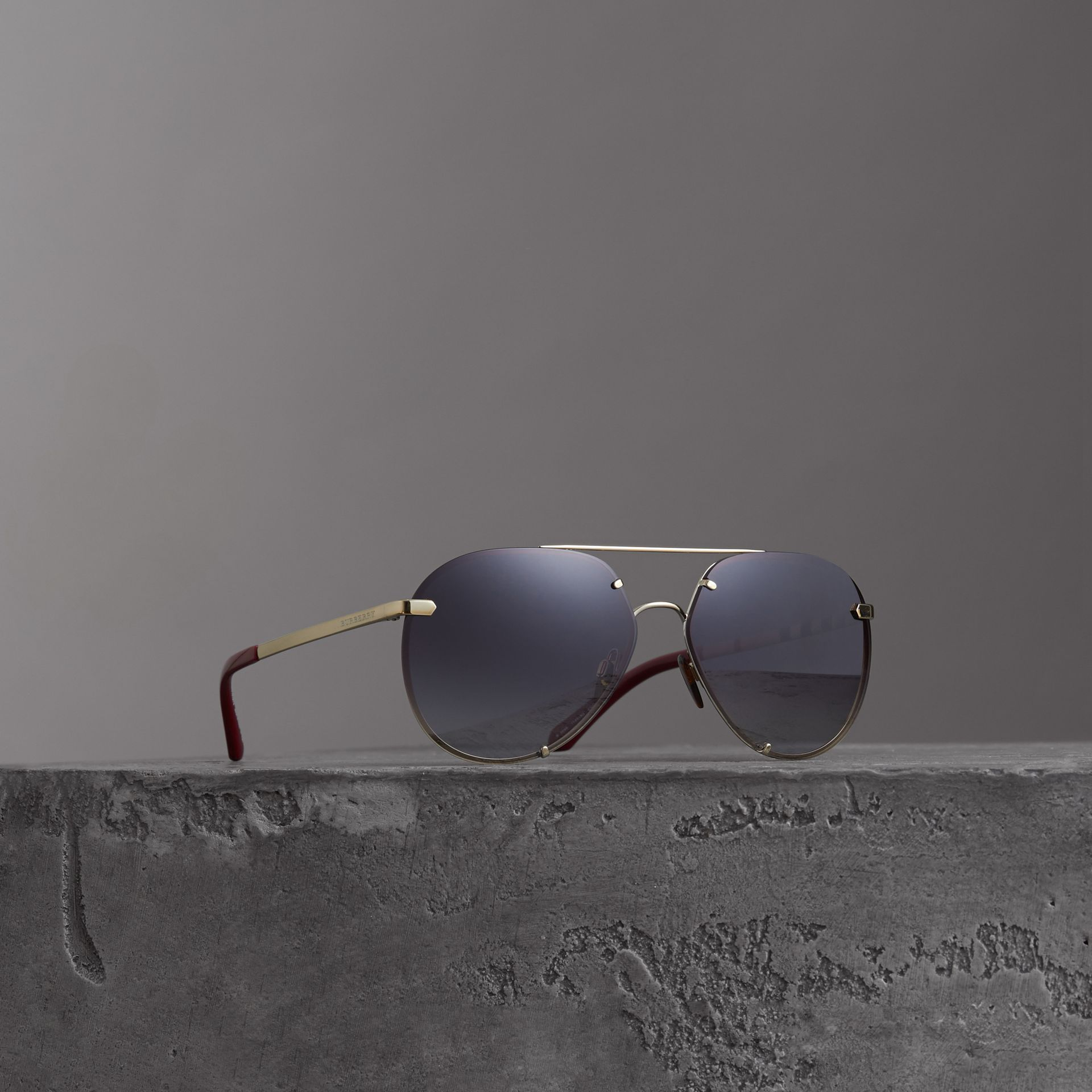 Check Detail Pilot Sunglasses in Grey - Women | Burberry - gallery image 0