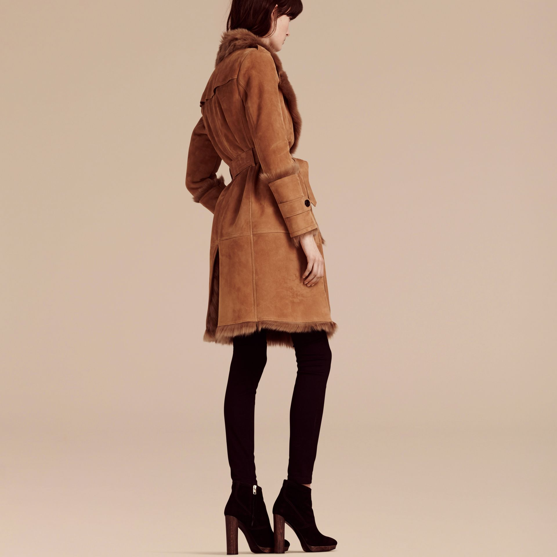 Dark camel Shearling Wrap Coat - gallery image 1