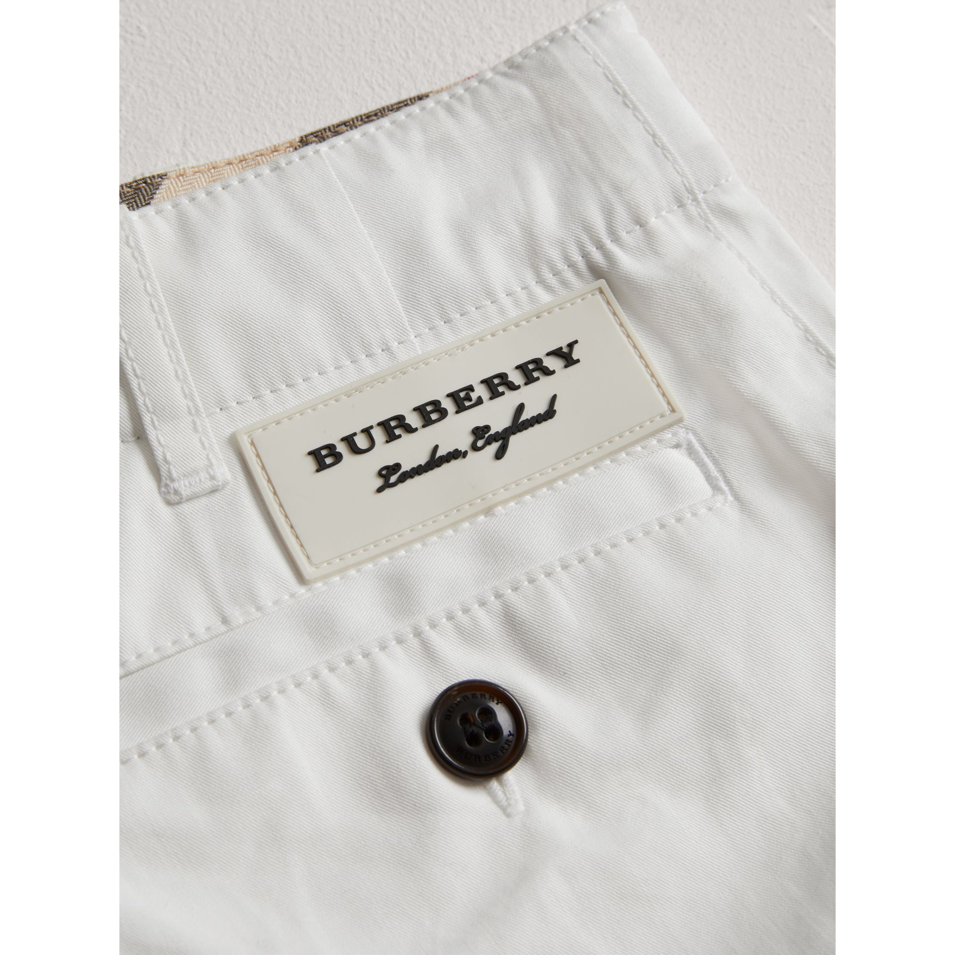 Cotton Twill Chino Shorts in White - Girl | Burberry - gallery image 1