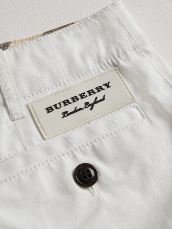 Cotton Twill Chino Shorts in White - Girl | Burberry - cell image 1