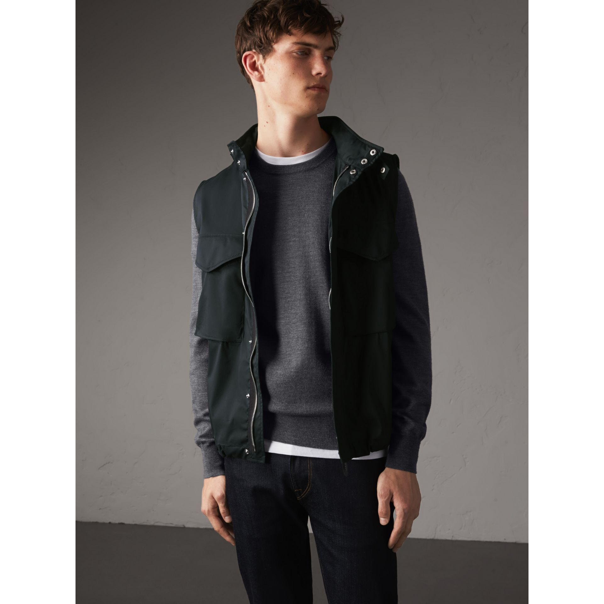 Longline Cotton Blend Field Jacket with Detachable Gilet in Navy - Men | Burberry - gallery image 6