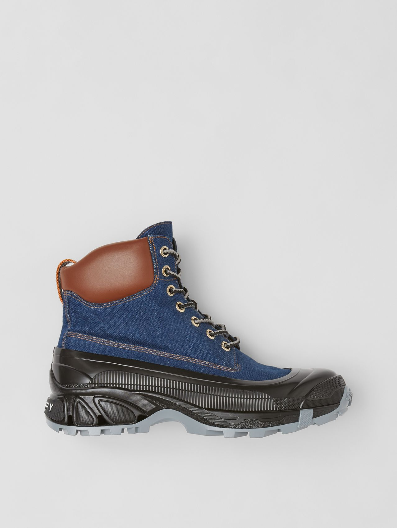 Contrast Sole Denim and Leather Boots in Dark Canvas Blue