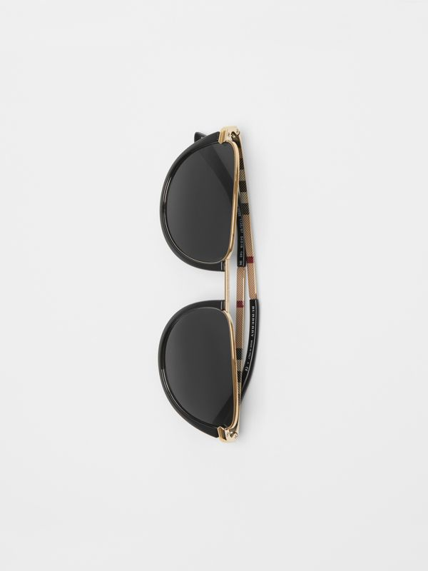 Half Moon Pilot Round Frame Sunglasses in Black - Women | Burberry United Kingdom - cell image 3