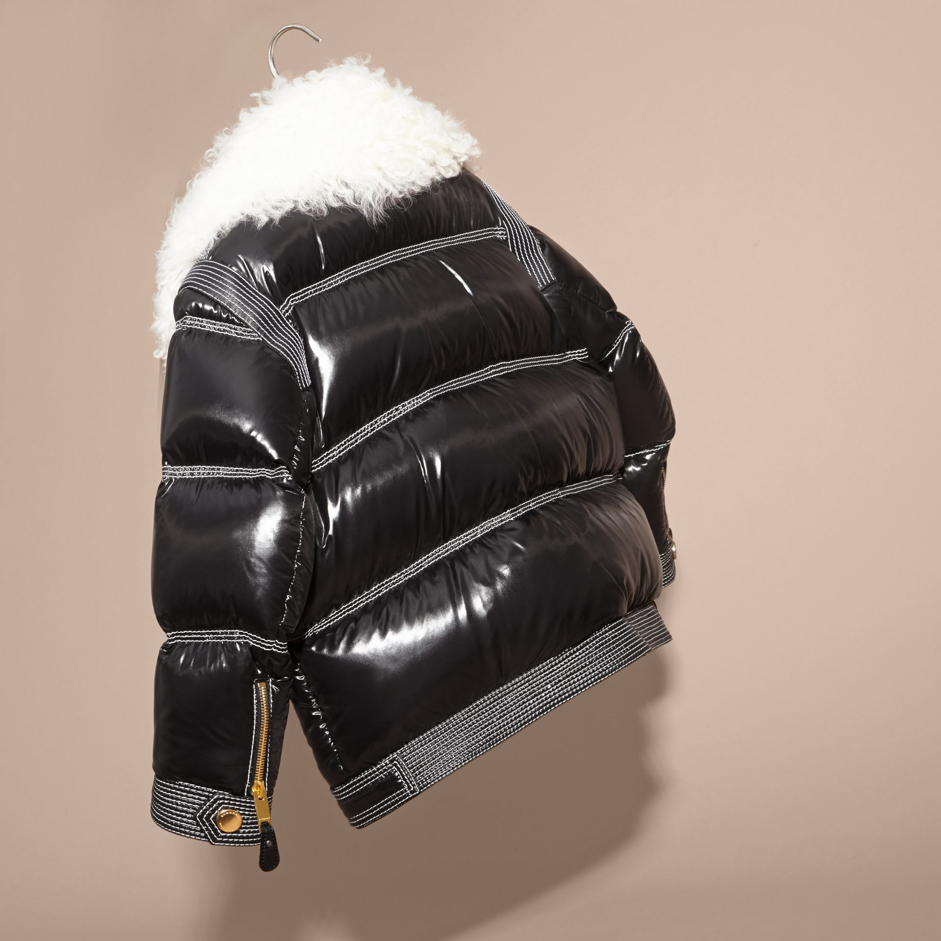 Black Lightweight Down-filled Puffer Jacket with Shearling Collar - gallery image 4