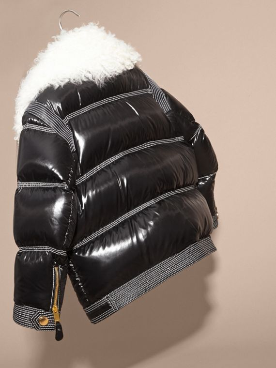 Black Lightweight Down-filled Puffer Jacket with Shearling Collar - cell image 3