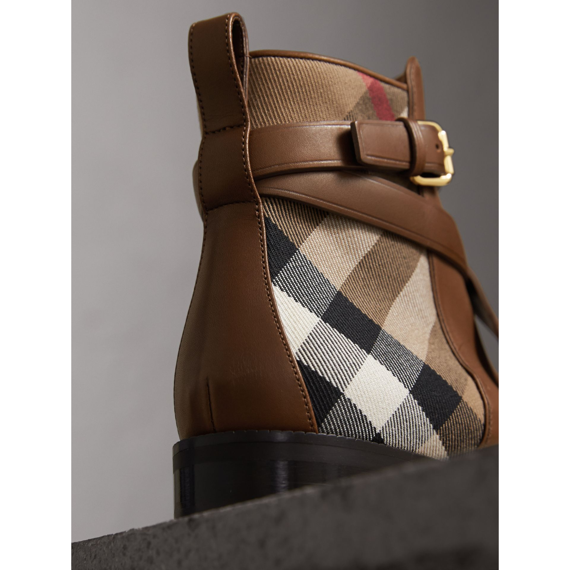 Strap Detail House Check and Leather Ankle Boots in Bright Camel - Women | Burberry - gallery image 3