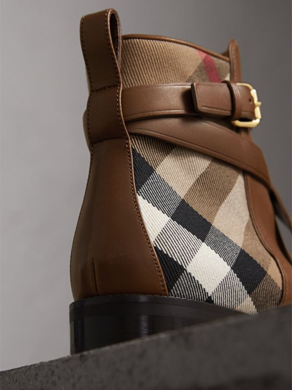 Strap Detail House Check and Leather Ankle Boots in Bright Camel - Women | Burberry Australia - cell image 3