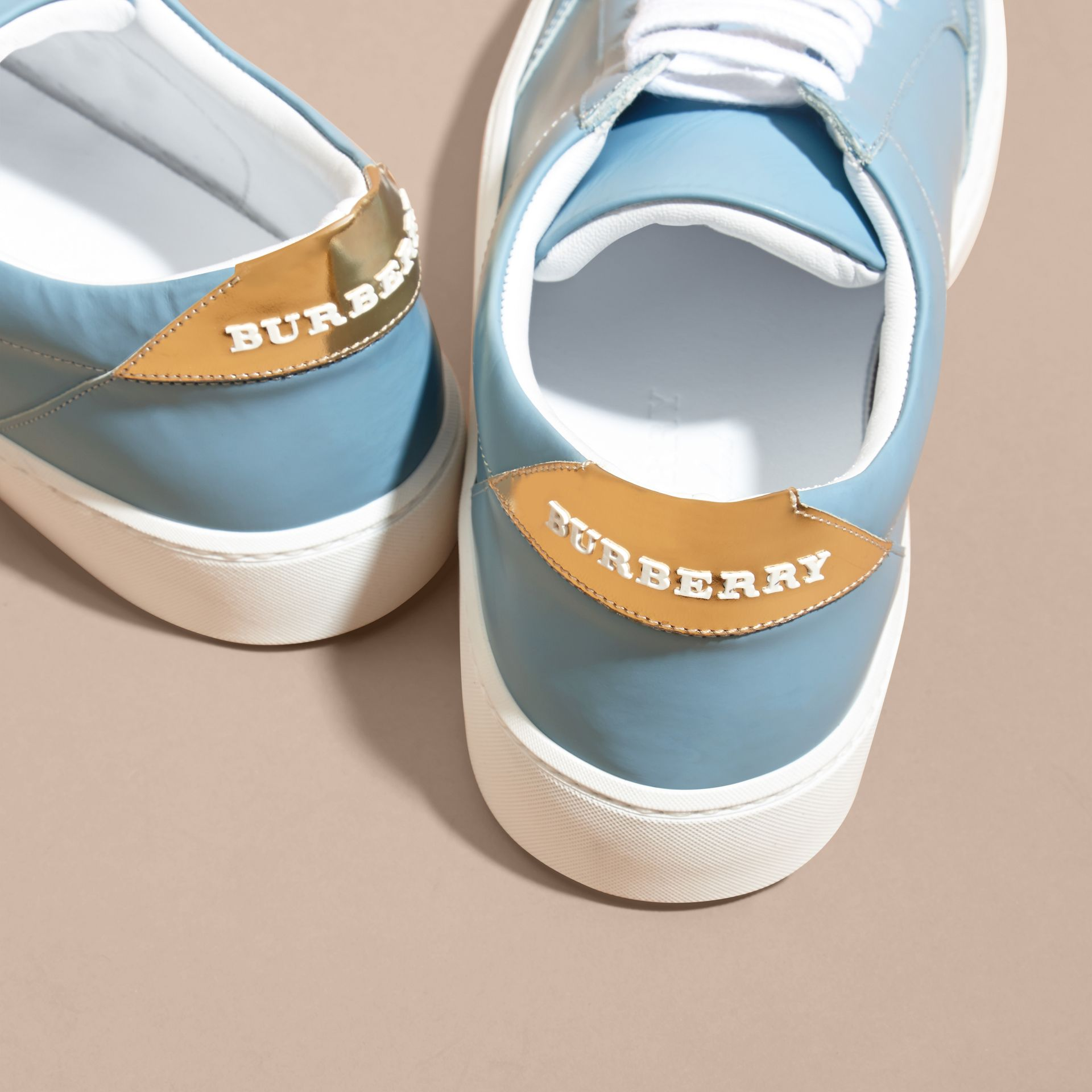 Metallic Detail Leather Trainers in Powder Blue - gallery image 4