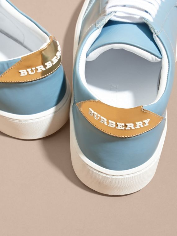 Metallic Detail Leather Sneakers Powder Blue - cell image 3