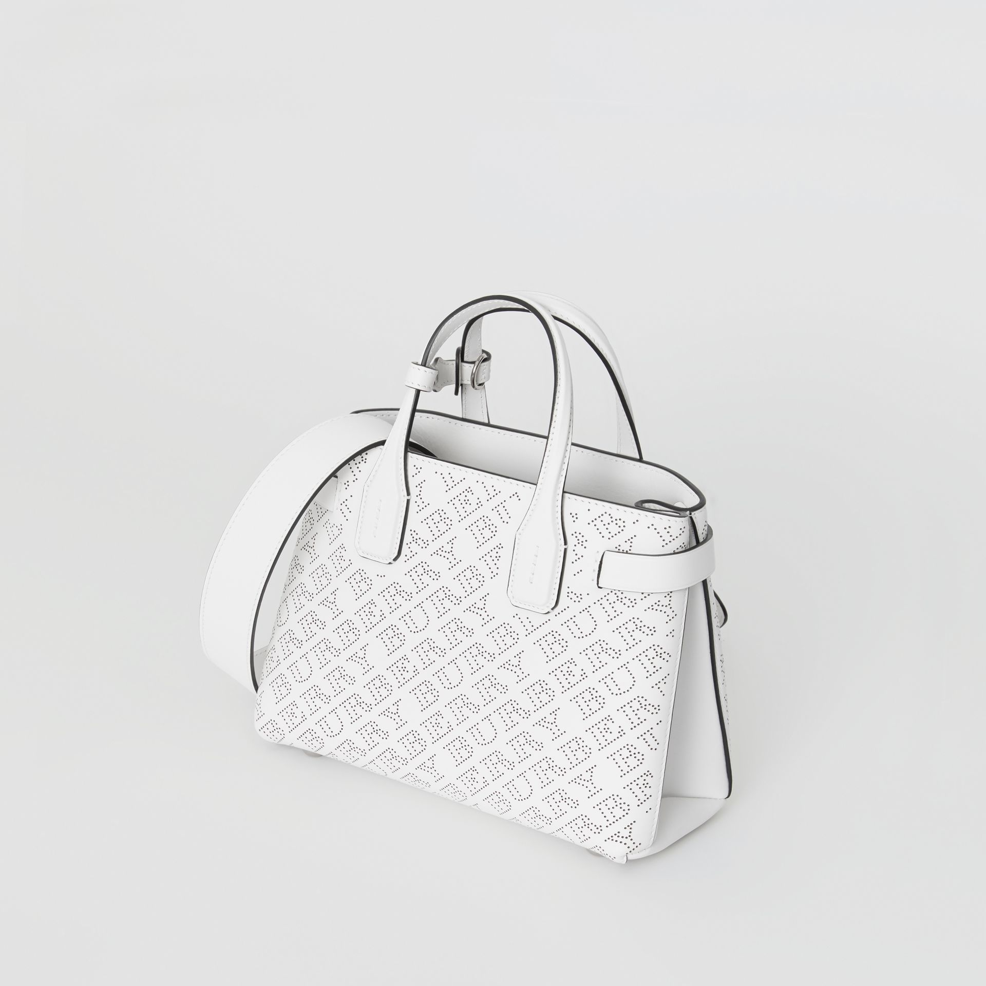 The Small Banner in Perforated Logo Leather in Chalk White - Women | Burberry United States - gallery image 4