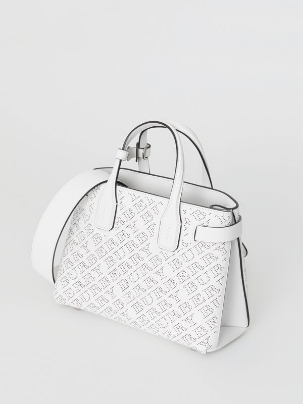 The Small Banner in Perforated Logo Leather in Chalk White - Women | Burberry - cell image 2