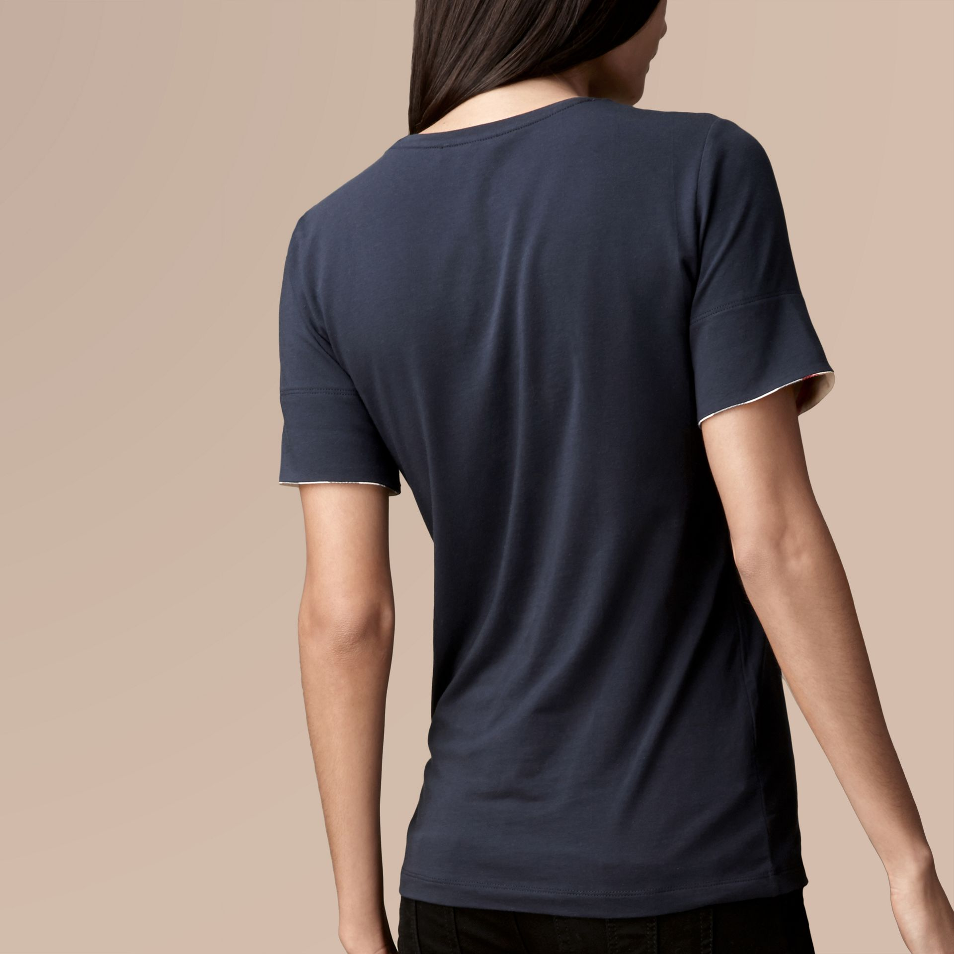 Check Cuff Stretch Cotton T-Shirt Navy - gallery image 3