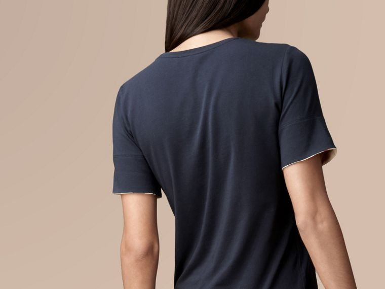 Check Cuff Stretch Cotton T-Shirt Navy - cell image 2